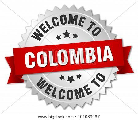 Colombia 3D Silver Badge With Red Ribbon