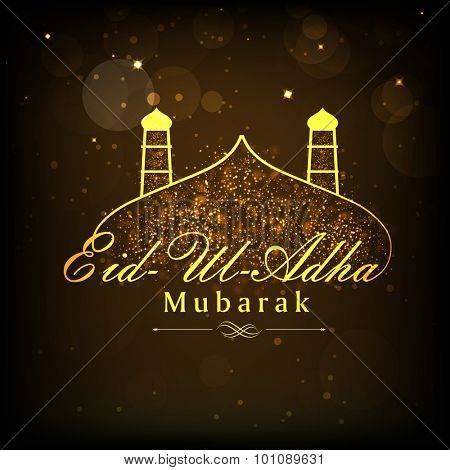 Shiny golden text Eid-Ul-Adha Mubarak with mosque on brown background for muslim community festival of sacrifice celebration.