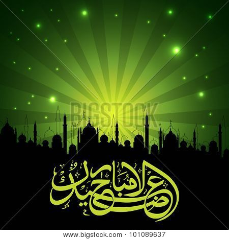 Stylish Arabic Islamic calligraphy of text Eid-Al-Adha Mubarak with Mosque silhouette on shiny green rays background for Muslim community Festival of Sacrifice celebration.
