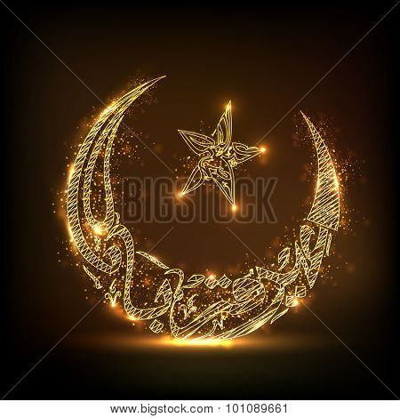 Arabic Islamic calligraphy of text Eid-E-Qurba and Eid-Al-Adha in golden crescent moon and star shape for Muslim community Festival of Sacrifice celebration.