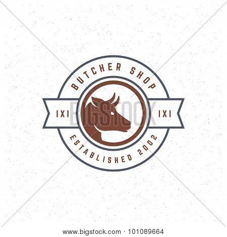 Butcher Shop Design Element in Vintage Style