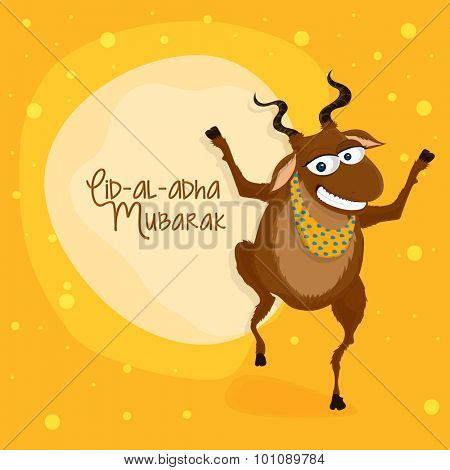 Illustration of a goat on creative background for muslim community festival of sacrifice, Eid-Al-Adha Mubarak.