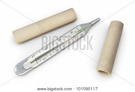 Mercury Thermometer On A White.