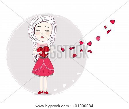 Holding heart sad girl art vector background