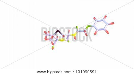 Penicillin V molecular structure isolated on white