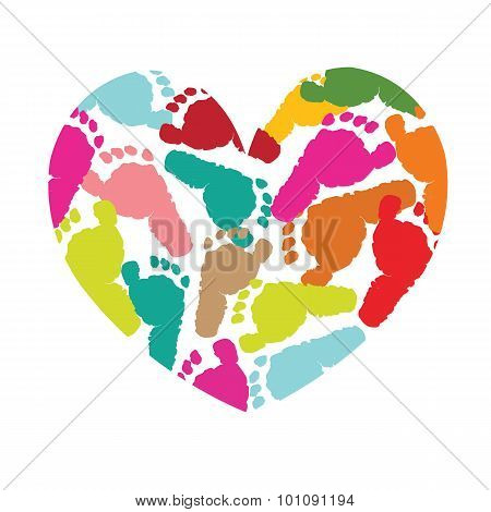Heart with baby foot prints vector background