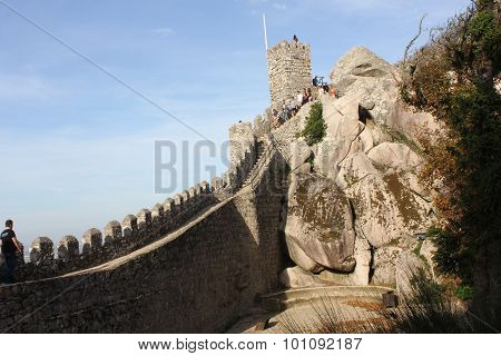 Beautiful View Of Moorish Castle Tower And Walls