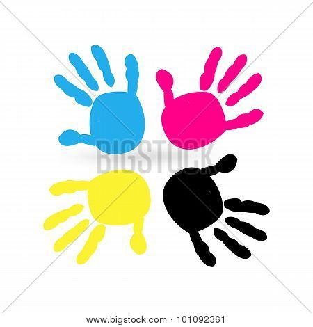 Cmyk color with hand prints vector