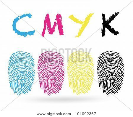 Cmyk colors with finger prints vector