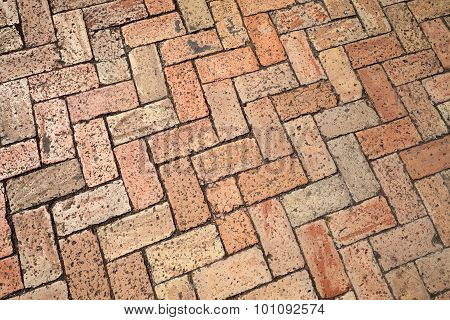 Old Red Cobblestone Pavement, Background