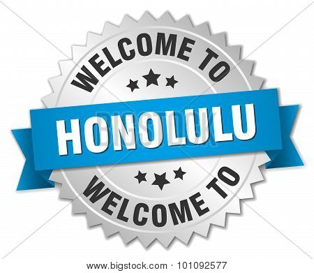 Honolulu 3D Silver Badge With Blue Ribbon