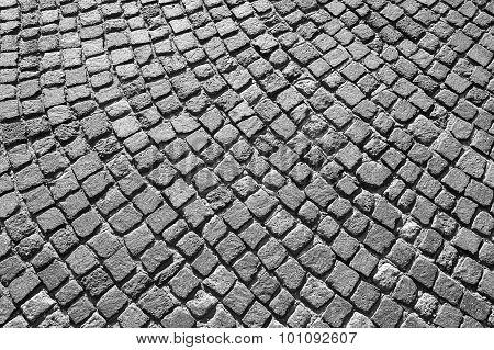 Gray Granite Cobblestone Road Pavement