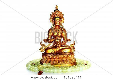 Vajra and Buddha Jade Beads on White Background