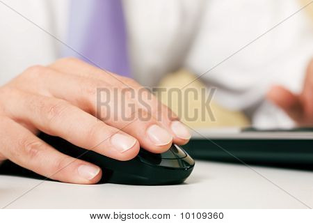 Man using computer mouse