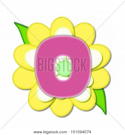 Alphabet Flower Pin Yellow O