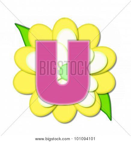 Alphabet Flower Pin Yellow U
