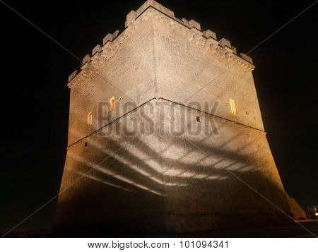 Back of Torre Lapillo in the night