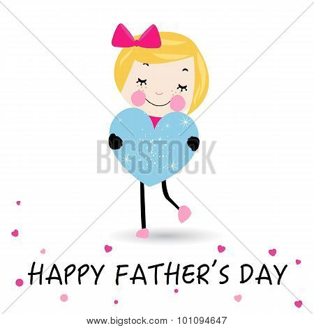 Happy Father's Day Card Lovely Girl With Heart