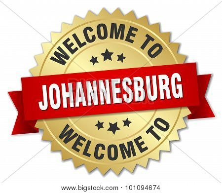 Johannesburg 3D Gold Badge With Red Ribbon