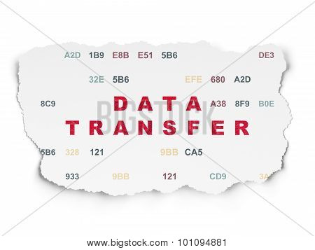 Data concept: Data Transfer on Torn Paper background