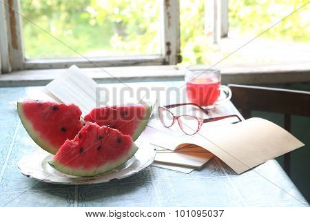Water-melon Piece On A Plate, A Recipe-book And Points