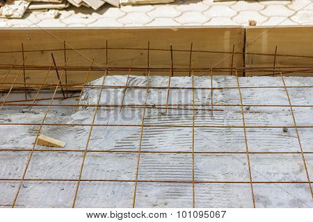 Armature Grids In A Concrete Floor