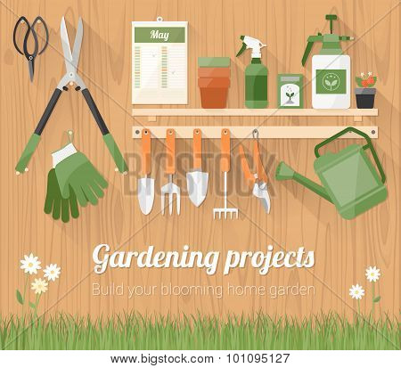 Gardening Tools On A Wooden Wall