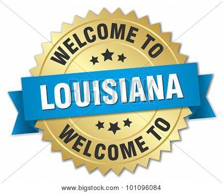 Louisiana 3D Gold Badge With Blue Ribbon