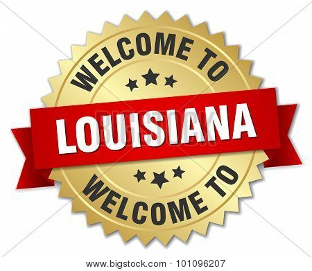 Louisiana 3D Gold Badge With Red Ribbon