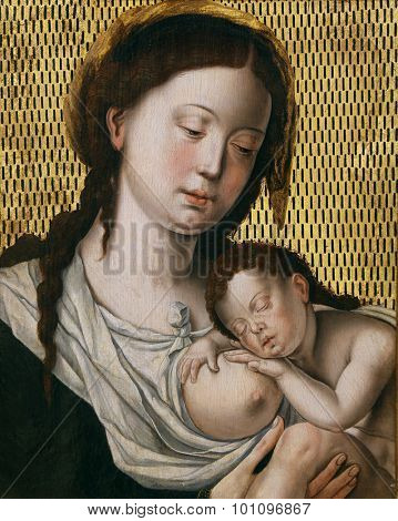 ZAGREB, CROATIA - DECEMBER 08: According to Jan Gossart: Madonna with the Child, Old Masters Collection, Croatian Academy of Sciences, December 08, 2014 in Zagreb, Croatia