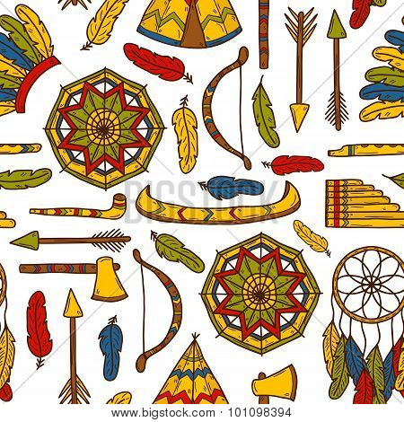 Seamless background with hand drawn objects on native american theme: tomahawk, feather, canoe, bow, arrow, hat, mandala, flute, pipe, dreamcatcher. Native american concept for your design