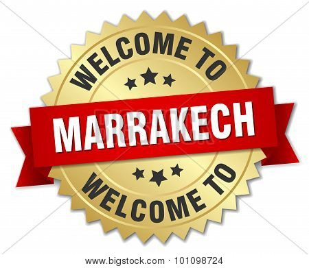 Marrakech 3D Gold Badge With Red Ribbon