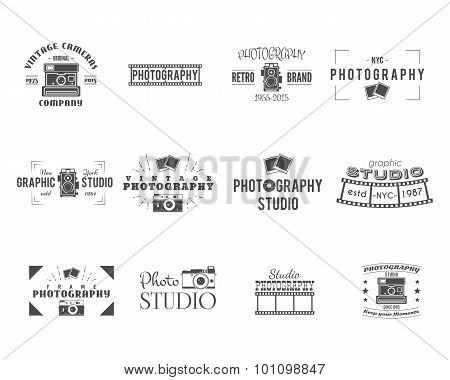 Vintage Photography Badges, Labels templates. Monochrome design with stylish cameras and elements. R