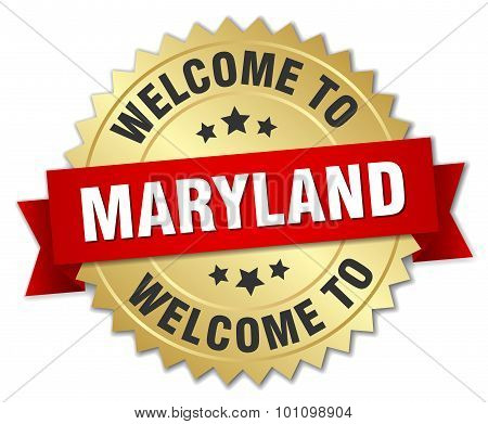 Maryland 3D Gold Badge With Red Ribbon