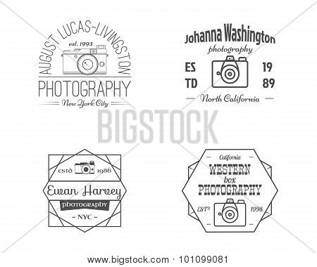 Vintage Line Photography Badges, Labels. Monochrome design with stylish cameras and elements. Retro