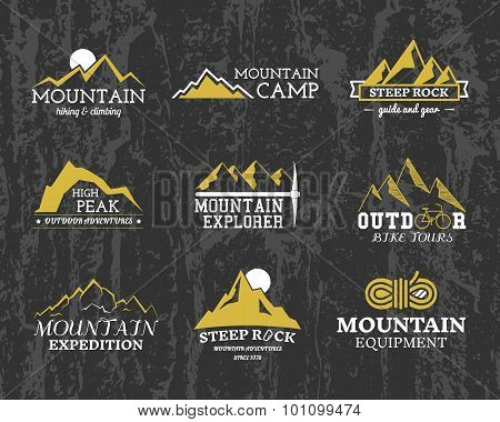 Set of Summer winter mountain explorer camp badge, logo and label templates. Travel, hiking, climbin