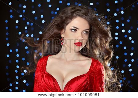 Beautiful Model Girl With Long Wavy Shiny Hair And Red Lips Isolated On White Background. Hair. Heal