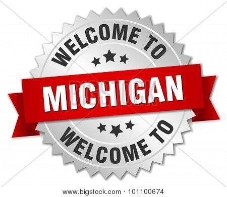 Michigan 3D Silver Badge With Red Ribbon
