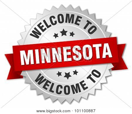 Minnesota 3D Silver Badge With Red Ribbon