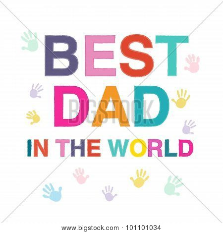 Father's Day Card Best Dad Greeting Card Vector