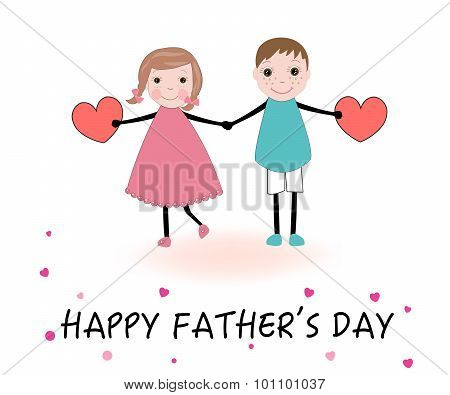 Father's Day Card Kids Holding Heart Vector.eps