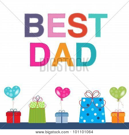 Father's Day greeting card with gift box and balloon vector