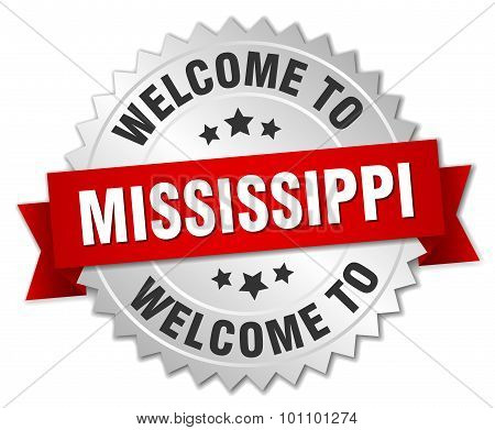 Mississippi 3D Silver Badge With Red Ribbon