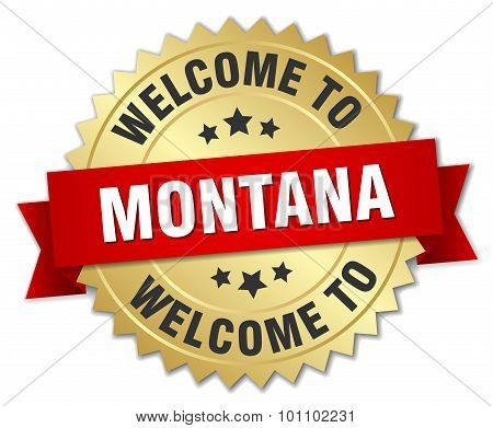 Montana 3D Gold Badge With Red Ribbon