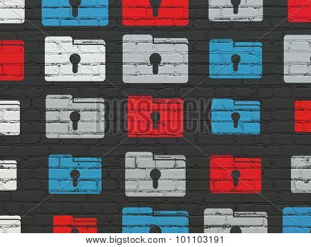 Finance concept: Folder With Keyhole icons on wall background