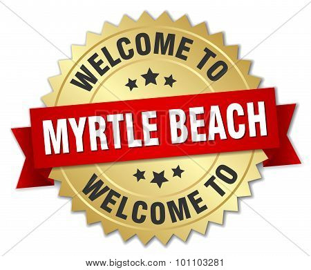 Myrtle Beach 3D Gold Badge With Red Ribbon
