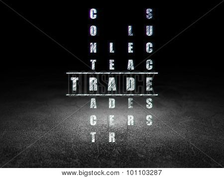 Business concept: word Trade in solving Crossword Puzzle