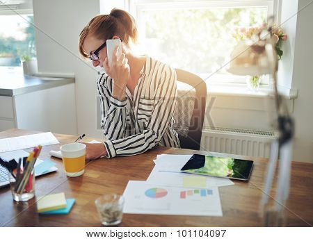 Young Manageress Working At Her Desk