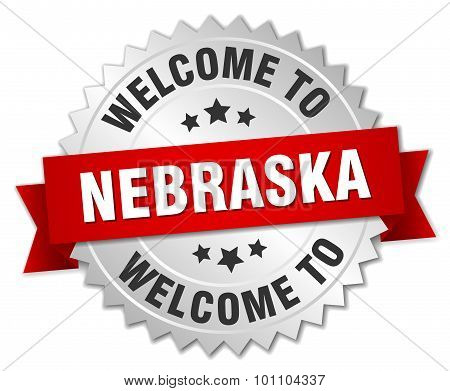 Nebraska 3D Silver Badge With Red Ribbon