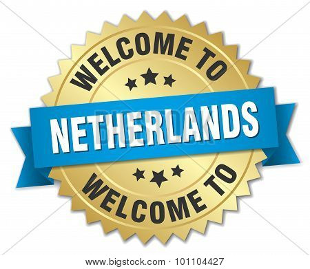 Netherlands 3D Gold Badge With Blue Ribbon
